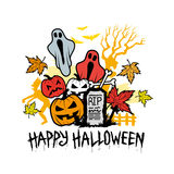 Icone e simboli del carattere di Halloween Fotografia Stock