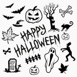 Icone e simboli del carattere di Halloween Immagine Stock