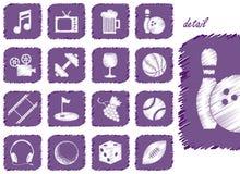 Icone e simboli di ricreazione Fotografia Stock