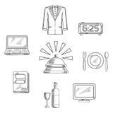 Icone e simboli di servizio dell'albergo di lusso Immagini Stock Libere da Diritti