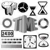 Icone e simboli di tempo Fotografia Stock