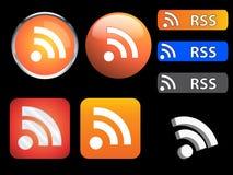 Icone e tasti di RSS Immagine Stock