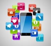 Icone e telefono di vetro del bottone. Illustrazione di vettore Immagine Stock Libera da Diritti