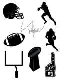 Icone ed elementi di gioco del calcio Fotografie Stock Libere da Diritti