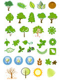 Icone ed elementi naturali di disegno Immagine Stock