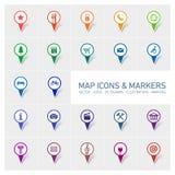 Icone ed indicatori della mappa Immagine Stock