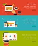 Icone ed insegne piane di concetto di progetto Immagini Stock