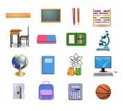 Icone ed oggetti della scuola Fotografie Stock Libere da Diritti