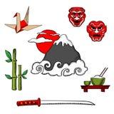 Icone ed oggetti di viaggio del Giappone Fotografie Stock