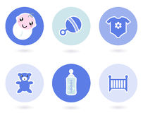 Icone ed oggetti per il neonato Immagine Stock Libera da Diritti