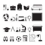 Icone educative degli strumenti messe, monocromatico illustrazione di stock