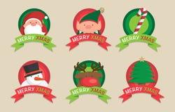 Icone, elementi ed illustrazioni svegli di Natale Fotografia Stock Libera da Diritti