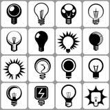 Icone elettriche della lampadina messe Fotografia Stock