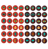 Icone elettroniche di colore dell'insieme di vettore Immagini Stock