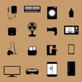 Icone elettroniche domestiche degli apparecchi Immagine Stock