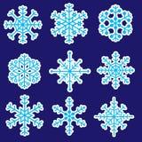 Icone eps10 degli autoadesivi dei fiocchi di neve Illustrazione di Stock