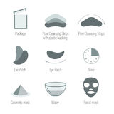 Icone facciali di cura di pelle messe Pulendo la pelle e mantenga la pelle sana Salute della pelle, raccolta di simboli Fotografia Stock Libera da Diritti