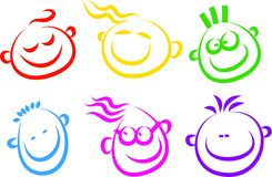 Icone felici del fronte Fotografie Stock