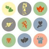 Icone felici di giorno di biglietti di S. Valentino Fotografia Stock Libera da Diritti