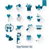 Icone felici di giorno di biglietti di S. Valentino Fotografie Stock