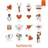 Icone felici di giorno di biglietti di S. Valentino Immagine Stock