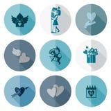Icone felici di giorno di biglietti di S. Valentino Fotografie Stock Libere da Diritti