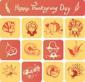 Icone felici di giorno di ringraziamento Fotografia Stock