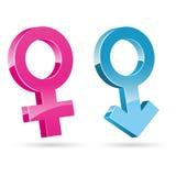 Icone femminili maschii Fotografie Stock
