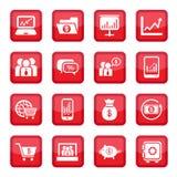 Icone finanziarie impostate Fotografia Stock