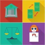 Icone finanziarie in una progettazione piana Immagini Stock