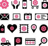 Icone fiorite di web di affari Fotografie Stock