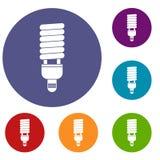 Icone fluorescenti della lampadina messe Fotografia Stock Libera da Diritti
