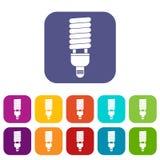 Icone fluorescenti della lampadina messe Immagine Stock Libera da Diritti