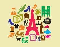 Icone francesi della coltura illustrazione vettoriale
