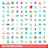 100 icone future messe, stile del fumetto Fotografia Stock Libera da Diritti