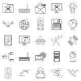 Icone future messe, stile del profilo Fotografie Stock
