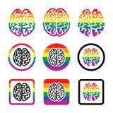Icone gay del cervello umano messe - simbolo dell'arcobaleno Immagini Stock Libere da Diritti
