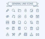 Icone generali di vettore messe Linea sottile griglia del profilo 24x24 Pixel perfetto Immagine Stock Libera da Diritti