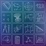 Icone gessose di matematica Fotografie Stock Libere da Diritti