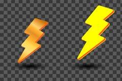 Icone gialle dell'istantaneo di illuminazione di Bolt e di tuono messe Stile piano su fondo scuro Vettore illustrazione di stock