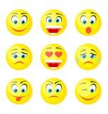 Icone gialle di sorriso Fotografia Stock