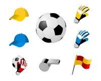Icone gioco del calcio/di calcio Fotografia Stock