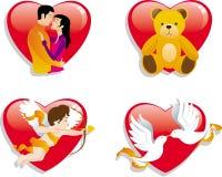 Icone Giorno-Di tema del biglietto di S. Valentino Immagini Stock Libere da Diritti