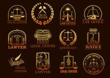 Icone giuridiche legali dell'oro di vettore dell'avvocato o del centro Immagine Stock