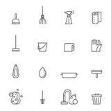 Icone grige di vettore del profilo di pulizia messe progettazione minimalistic moderna illustrazione vettoriale