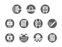 Icone grige rotonde dei sistemi sotto il pavimento messe Immagine Stock