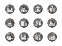 Icone grige rotonde delle fabbriche e delle piante messe Immagini Stock Libere da Diritti