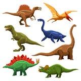 Icone Iet di colore dei dinosauri Fotografia Stock