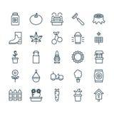 Icone impostate Raccolta dello stivale di gomma, potere di Sun, Berry And Other Elements dolce Inoltre comprende i simboli quale  Immagine Stock