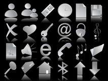 Icone impostate sul nero Immagine Stock